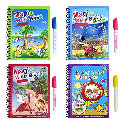 4 pièces Livres de coloriage à l'eau, Livre de peinture à l'eau pour enfants, activités de voyage, jouet pour enfants, livre de traçage réutilisable pour enfants tout-petits garçons filles présents