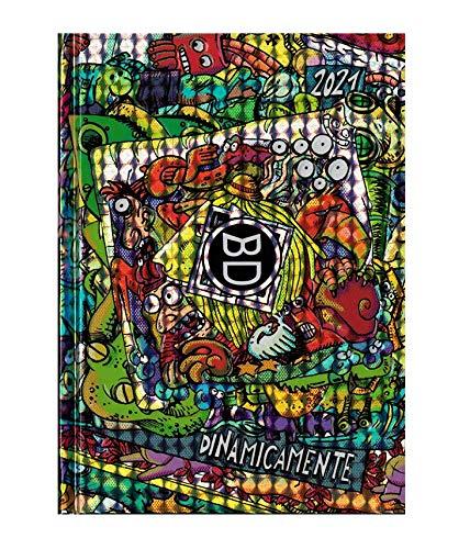 DIARIO SCUOLA Bastardidentro Bastardi Dentro Dinamicamente Multicolor Pocket 2020-2021 16x11cm + Omaggio portachiave Fischietto + Penna Glitterata Omaggio + Omaggio segnalibro