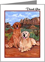 CafePress Golden Retrievers Thank You Blank Note Cards (Pack of 20) Glossy