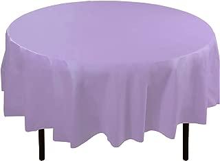 Exquisite 12-Pack Premium Plastic Tablecloth 84in. Round Table Cover - Lavender