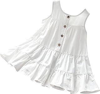 Agoky Vestido de Algodón para Niña Chicas Princesa Fiesta Ropa de Vestir Tirantes Vestido Plisado A-Line Ropa de Casual Ni...