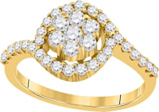 IGI Certified 3/4 Carat Round Natural Diamond Engagement/Wedding/Halo Style/Curved Ring In 10K Solid Yellow Gold