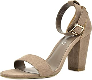 TOETOS Women's Stella Open Toe Mid Chunky Heel Pump Sandals