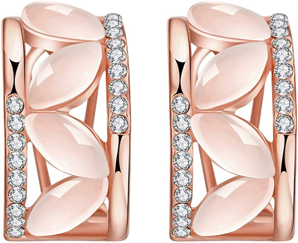 Super sale quality assurance Yellow Chimes Rose Gold Plated Clip Earrings On for Created-Opal