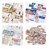 4Pack School Supplies Journal Diary Label Album Decor Vintage Stamp Stickers Retro Matchbox Scrapbooking Paper Sticker (Set2)