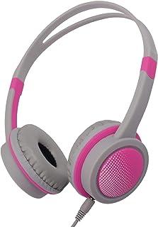 Insten - Auriculares in-ear con cable para niños con volumen seguro de 85 dB y diadema ajustable, 3,5 mm Jack para niños y niñas, estudio escolar, color rosa