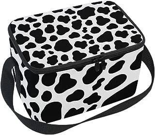 JOYPRINT Lunch Box Bag, Cow Animal Print Black Insulated Cooler Ice Lunchbox Adjustable Shoulder Strap for Women Men Boys Girls
