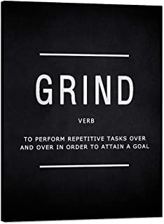 """Motivational Wall Art Grind Verb Inspiring Meaning Painting Prints on Canvas Inspirational Entrepreneur Quotes Posters Pop Culture Motto Inspiration Decorations Artwork for Office Home (30""""Wx40""""H)"""