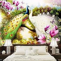 3D壁壁画壁紙手描きの花鳥孔雀油絵リビングルームソファテレビ背景写真壁紙 140cmx100cm
