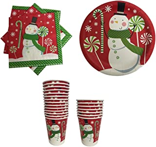 Christmas Paper Plates Napkins and Cups Red with Snowman