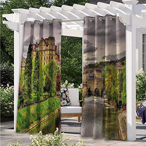 Adorise Outdoor Curtain Drapes Nature Theme View of Bath Town Over The River Avon in England Darkening Window Panel Durable, Water-Resistant, Opaque Fern Green W108 x L84 Inch
