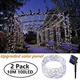 [2 Pack]Outdoor Solar Garden Lights, Ooklee Solar Fairy String Lights, 10M 100LED 8 Modes, Waterproof Copper Wire Lighting for Patio Gate Yard Outside Home Gazebo Festival Fence Decoration(Cool White)