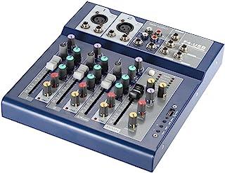 ammoon Mezclador en Directo Consola de Mezcla Metal Profesional 4 Canales EQ de 3 Bandas Función USB 48V Phantom con Bulit-en el Procesador de Efectos Entrada de Micrófono