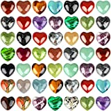Fumete 50 Pieces Natural Heart Palm Pocket Stone 0.6 Inch Assorted Heart-Shaped Healing Gemstone Heart Carved Palm Worry Stone Polished Pocket Palm Thumb Stone Reiki Balancing Worry Stone for Decor