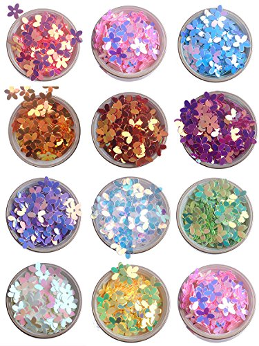 ZIJING 10mm Colorful Iridescent Gold Pink Purple White Yellow Green 3D Flower Loose Sequins Paillettes