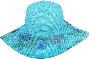 Chic Headwear Floppy Sun Paper Braid Hat w/Floral Design