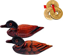 Divya Mantra Feng Shui Wooden Pair of Mandarin Ducks for Love Luck and Three Chinese Coins for Luck