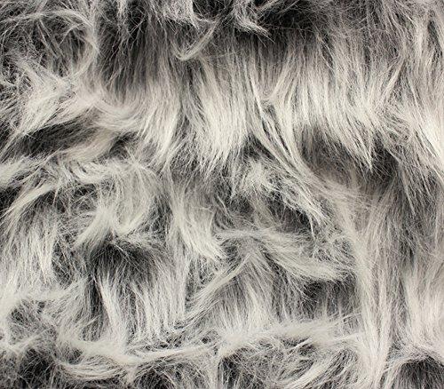 Faux Fur Fabric Long Pile Monkey Shaggy Gray Frost / 60