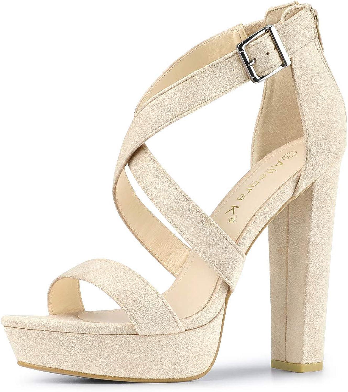 Allegra K Women's Crisscross Platform Heels Block Heel Sandals