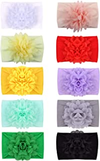 inSowni Newest Super Stretchy Nylon Bow Flower Turban Headbands Hairbands Headwraps for Baby Girl Toddlers Infants Newborn...