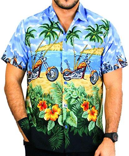 LA LEELA Tropicale Bike imprimée Funky Chemise Hawaienne Homme Coupe Droite Manches Courtes Shirt de Plage d'été Bleu_W164 M