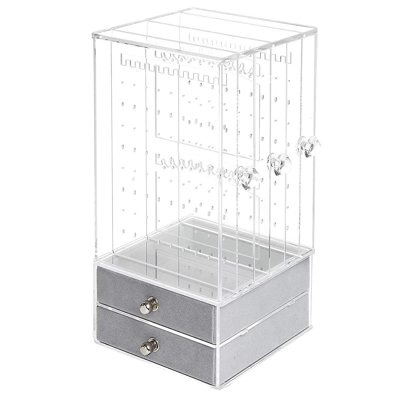 ZEYU HOME Jewelry Organizer Necklace Earrings & Bracelet Hanger Acrylic Display Storage Case Decor Gifts for Women (Clear)