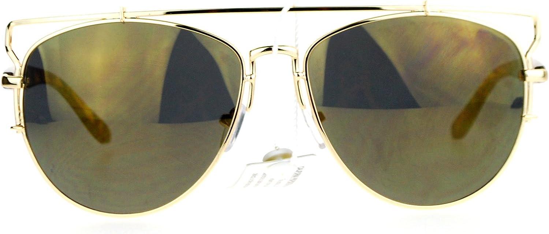 SA106 Unique Wire Frame Half Rim Style Aviator Sunglasses gold