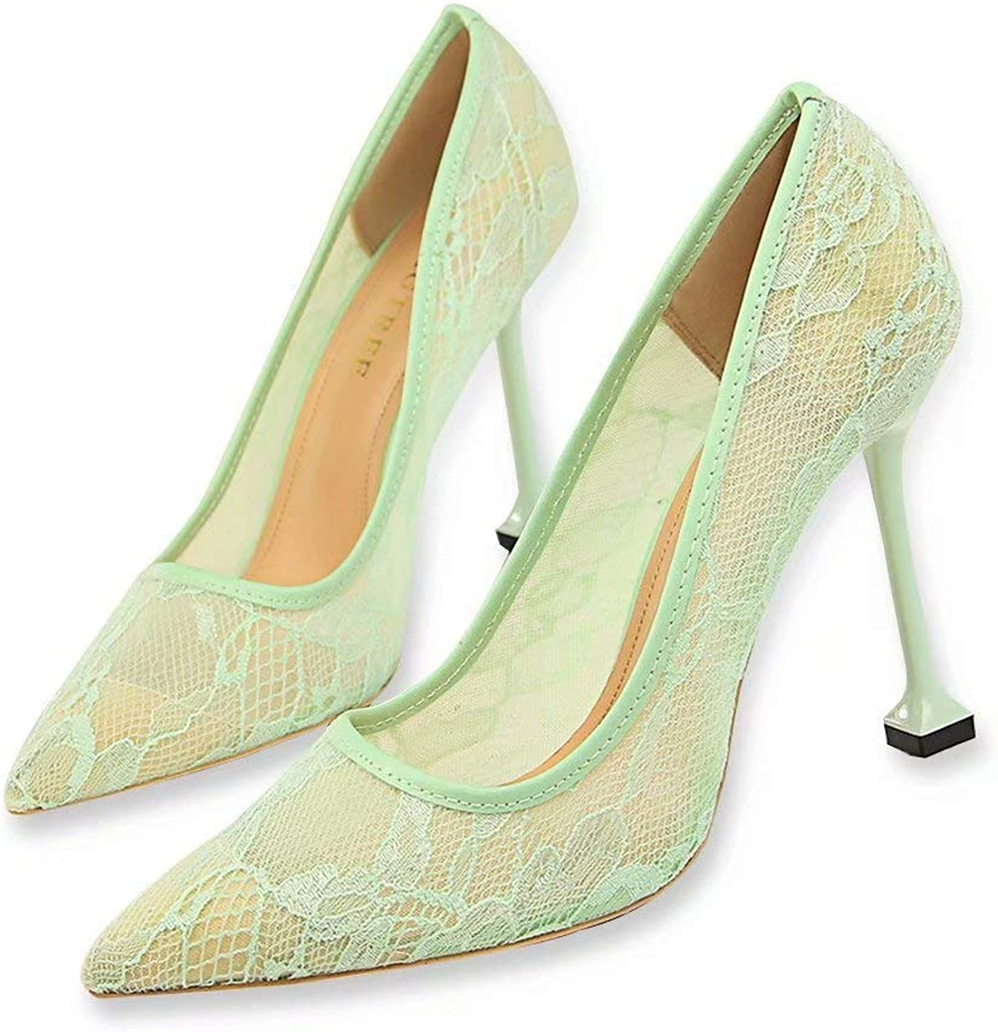 EDGssi23 Women's Lace High Heels Pointed Toe Pump Dress shoes Sandal Wedding Party Evening High Heel