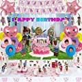 125 Pcs Rooblox Birthday Party Supplies for Girls, Rooblox Party Decorations, Birthday Decorations includes Happy Birthday Banner, Balloons, Hanging Swirls, Cake Topper, Backdrop, Stickers from Wonder Time US