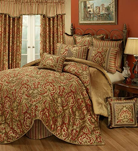 Read About Austin Horn Classics Botticelli Rust 3-Piece Luxury Comforter Set (King)