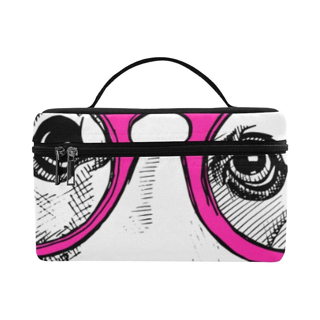 虎ガードハントHAYO メイクボックス 面白い眼鏡をかけている犬 コスメ収納 化粧品収納ケース 大容量 収納ボックス 化粧品入れ 化粧バッグ 旅行用 メイクブラシバッグ 化粧箱 持ち運び便利 プロ用