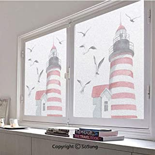 24x30 inch Decorative Static Cling Frosted Privacy Window Film,Lighthouse and Seagulls on the Beach Navigational Aid on Seaside Waterways Art Glass film for Window Glass Panels,UV Protection,Energy Sa