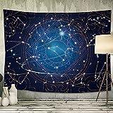 Tapiz Pared Constelaciones, Universo Tarot Grande Tapiz de Pared Decoracion Tapiz Bohemio Hippie para Sofá Dormitorio, Tapiz Picnic, Tela, Pareo Toalla de Playa Tapestry Pared Decoración 150x130cm