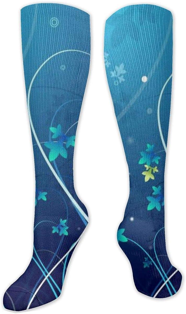 Blue Flower Background Knee High Socks Leg Warmer Dresses Long Boot Stockings For Womens Cosplay Daily Wear