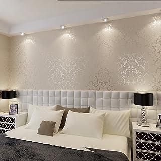 KeTian European Luxury Vintage Damask PVC Deep Embossed Textured Home Decoration Living Room Bedroom Wallpaper Roll Cream&...