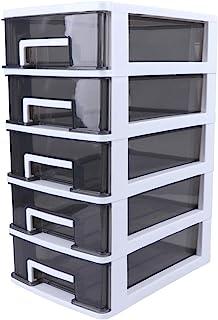 منظم سطح المكتب من بيسبورتبل، علبة لتخزين الماكياج من خمس طبقات، خزانة بأرفف شفافة للحمام أو لتخزين اللوازم المكتبية (أبيض...