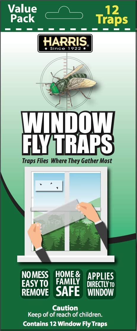 HARRIS Indoor Window Fly Strip, 12 Pack Sticky Traps Kills Flies