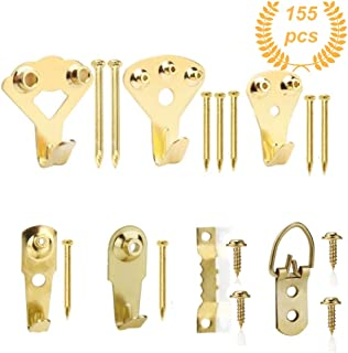 Picture Hangers, Quality Assorted Picture Hanging Kit, 155pcs Professional Photo Frame Hooks Heavy Duty Frame Hooks Hardware with Nails, Screws, D Ring and Sawtooth for Wall Mounting