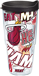 Tervis NBA Miami Heat All Over Tumbler with Wrap and Black Lid 24oz, Clear