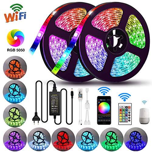 10M WiFi LED Stripes Streifen Bänder Farbwechsel Selbstklebend Lichtband mit Ferbedienung und Smart WiFi Kontroller,IP65 Wasserdicht für die Weihnachtsküche,TV-Bildschirm (RGB) inkl. Farbwechsel