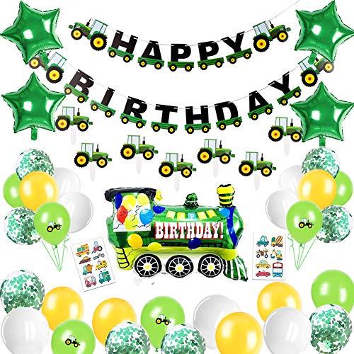 Sunshine smile Traktor Geburtstag Deko, Traktor Birthday Deko Kinder, Luftballons Traktor, Happy Birthday Girlande, Geburtstagsdeko Junge, Traktor Deko Party Kindergeburtstag