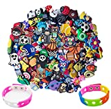 100pcs Different Shoe Charms for Clog Shoe,Wristband Bracelet Decoration & Charms Party Gift for Kids and Teens Girls (100pack+ 2 Bracelet) (100pack + 2 Bracelet)
