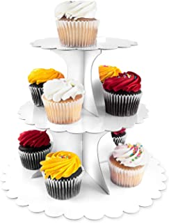 3 Tier Cupcake Cardboard Stand with Blank Canvas Design for Pastry Servings Platter, Birthdays, Dessert Tower Decorations (1 Stand) (White)