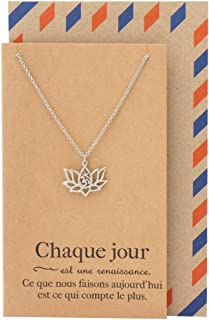 Quan Jewelry French Yoga Necklace, Om Lotus Flower,Used for Protection, Tous Les Jours Pendant Charm, Chaque Jour, Tibetan Buddhist Mandala Accessory, Handmade Amulet