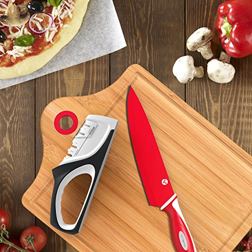 Vremi 4 Stage Manual Knife Sharpener - Kitchen Knife Sharpener 2 Slots Each With Steel and Ceramic Rod - Handheld Sharpening for Stainless Steel Blade Chef Paring Fillet Steak Japanese Knife - Black