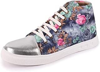 FAUSTO Women's Canvas Flowers Print Ankle Sneakers
