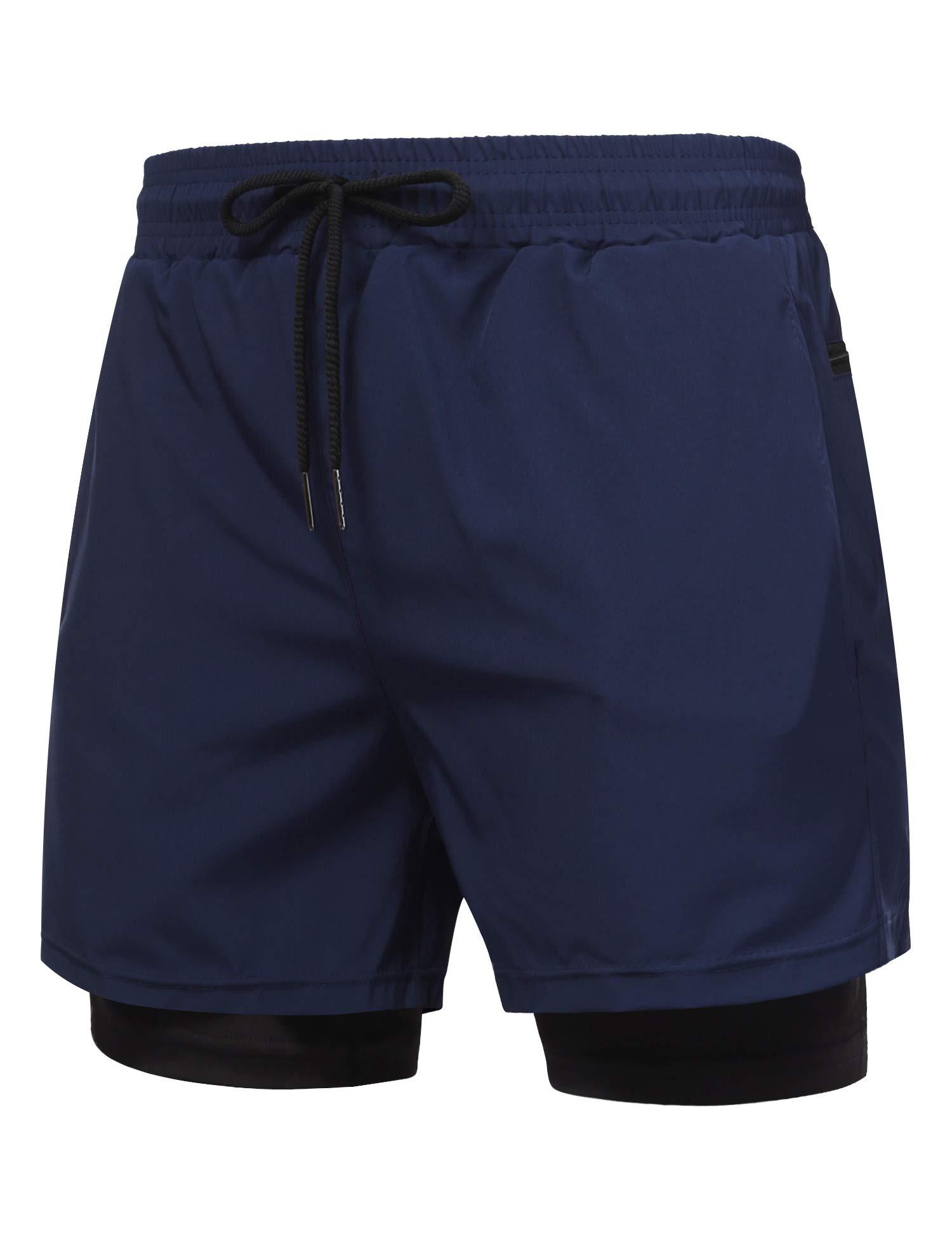 COOFANDY Men's 2 in 1 Active Short Elasticity Lightweight Quick Dry Jogger Shorts