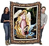 Watching Over You - Guardian Angel - Cotton Woven Blanket Throw - Made in The USA (72x54)