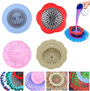 Plastic Pouring Strainers,Flower Acrylic Paint Strainers,Silicone Kitchen Sink Drain Basket for Painting Pouring Supplies and Creating Unique Patterns and Designs