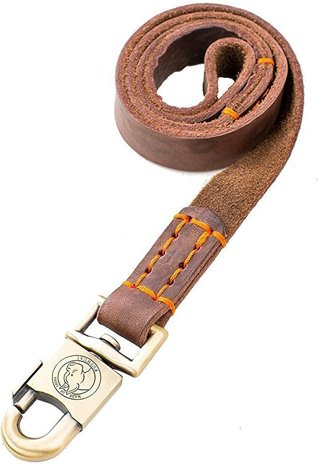Rantow Super Strong Leather Pet Trainning Leads for Medium Dogs or Large Dogs 1 Inch Wide and 3ft, 4ft and 5ft Long Handmade Brown Leather Dog Leash (5 FT)